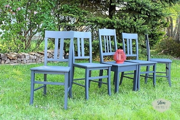 Anvil Gray Chalky Finish Spray Painted Dining Chair Set : Living ...