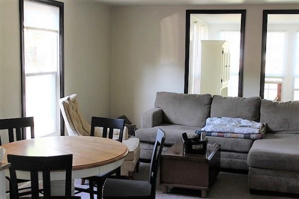 Dark painted trim   Living room cottage eclectic mood board   stowandtellu.com