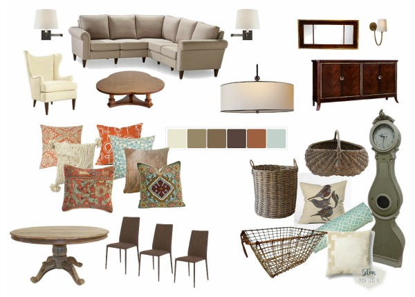 Rustic, eclectic cottage living room mood board desing | neutral cottage decor mood board | stowandtellu.com