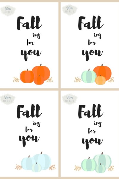 Free Fall Printable collection with orange, blue and green pumpkins | Falling for You printable | Stowandtellu.com