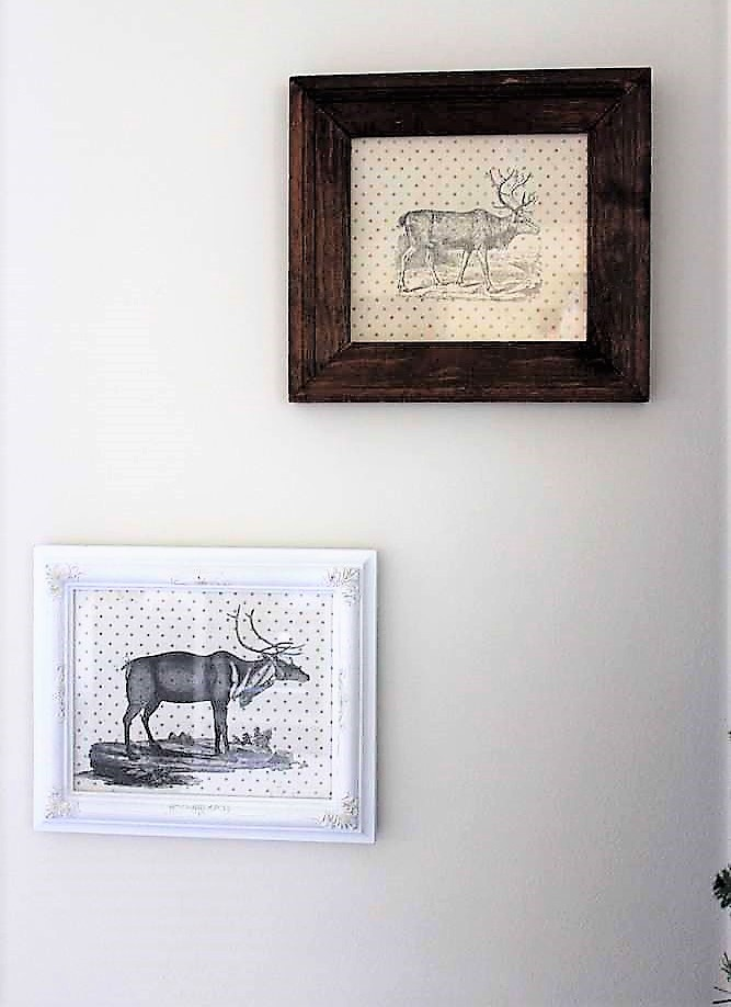 Rustic Christmas Reindeer Wall Art with upcycled frames and scrapbook paper | stowandtellu.com
