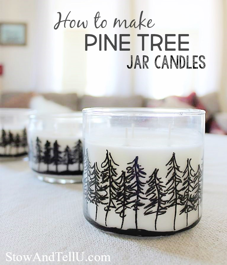 How to make pine tree jar candles for party and wedding favors, hostess, Christmas gifts, Cabin decor and more | stowandtellu.com