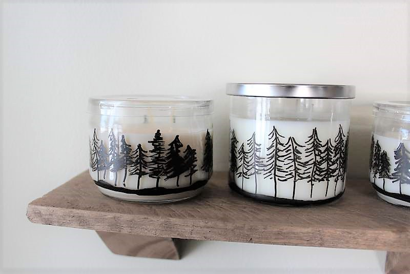 Pinetree drawing on jar candles | How to make Pine Tree Jar Candles with a paint marker | Stowandtellu.com