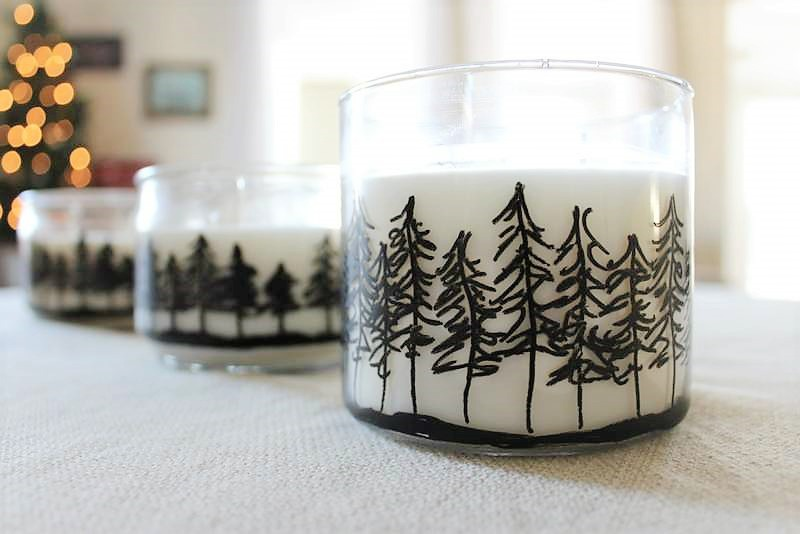 Pine Tree jar candles | winter craft | cabin decor | Draw a tree line on jar candles | stowandtellu.com