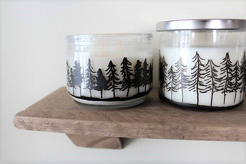 Treeline drawing on candle ljars | How to make Pine Tree Jar Candles with a paint marker | Stowandtellu.com