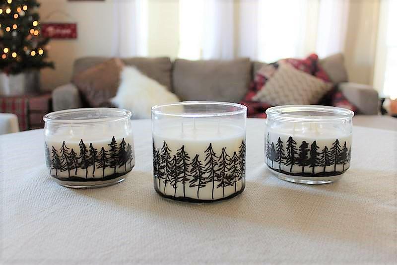 30 minute winter draft | Pine treeline drawing jar candles | stowandtellu.com
