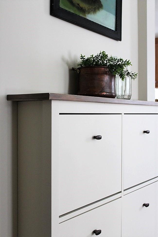 Ikea Shoe Cabinet Hack As Faux Built In Hallway Storage