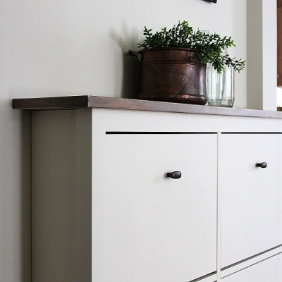 Ikea Shoe Cabinet Hack as Faux Built-in Hallway Storage