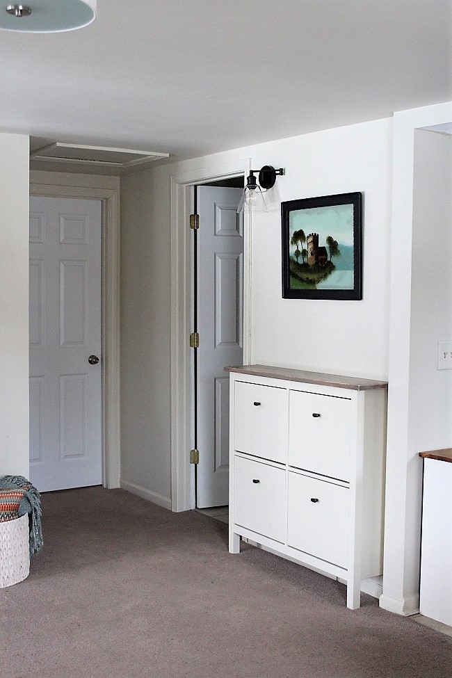 IKEA Shoe Cabinet Hack faux built-in storage ideas | stowandtellu
