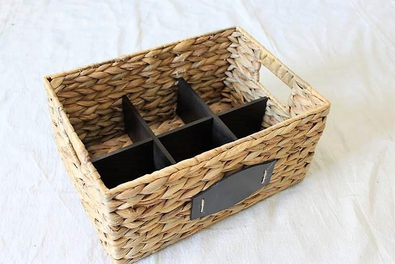 Rattan Basket with painted black basket divider inset | How to Make a Divided Basket