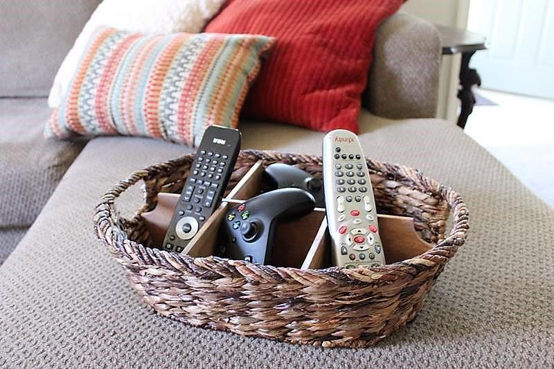 DIY Remote Control Storage Basket Divider