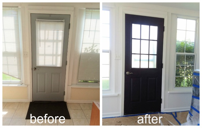 Before and after painted black door
