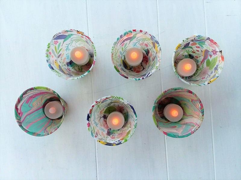 Flameless tea light tissue paper luminaries | stowandtellu.com
