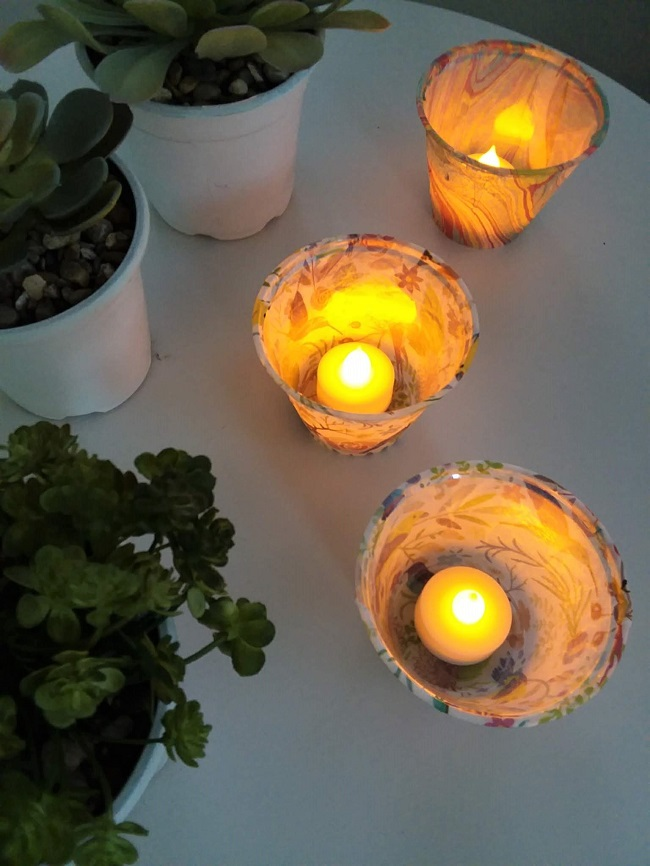 Tissue Paper Luminaries with flameless candle and plastic cups | stownadtellu.com