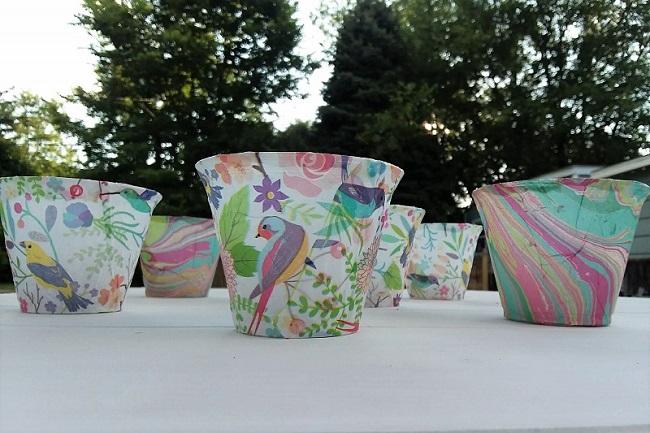 Tissue paper flameless tea lgiths made with plastic cups | stowandtellu.com