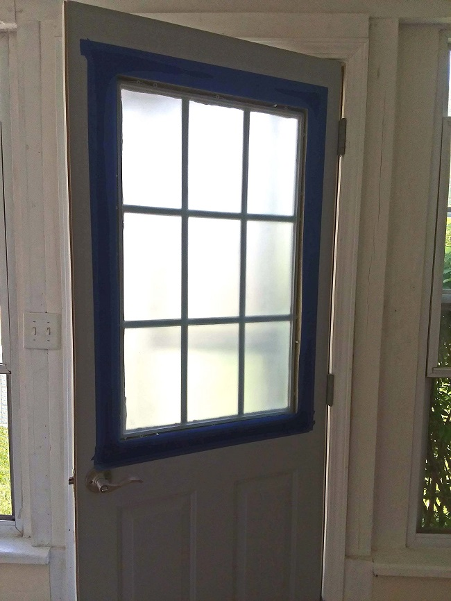 Grid Door Taped for Painting | 10 Tips to Painting Grid Doors and Frosting the Glass Windows