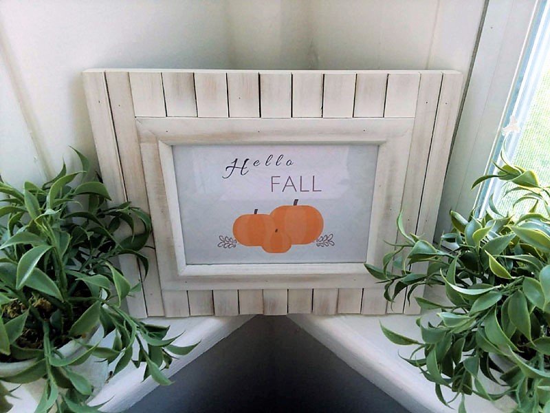 "Framed ""Hello Fall"" with orange pumpkins printable 