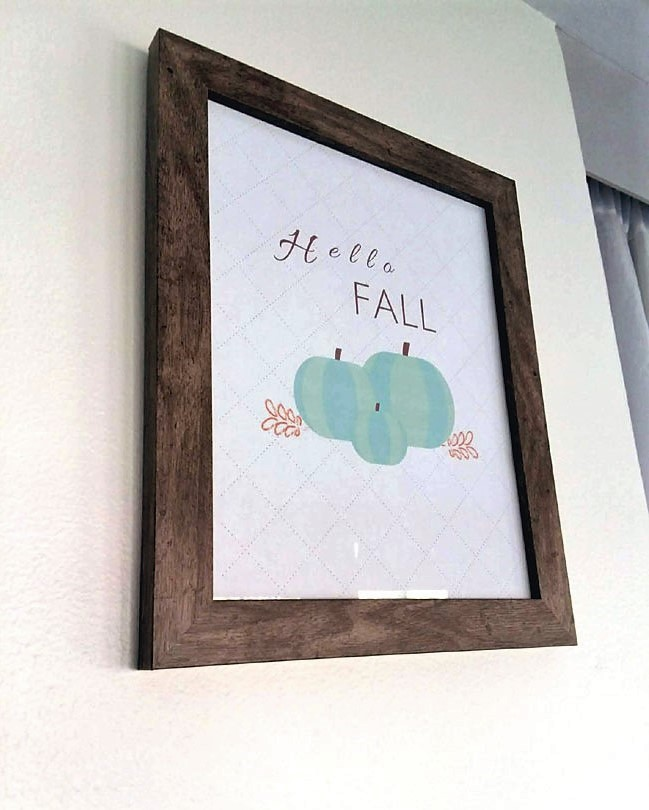 "DIY framed ""Hello Fall"" printable with blue pumpkins on white background 