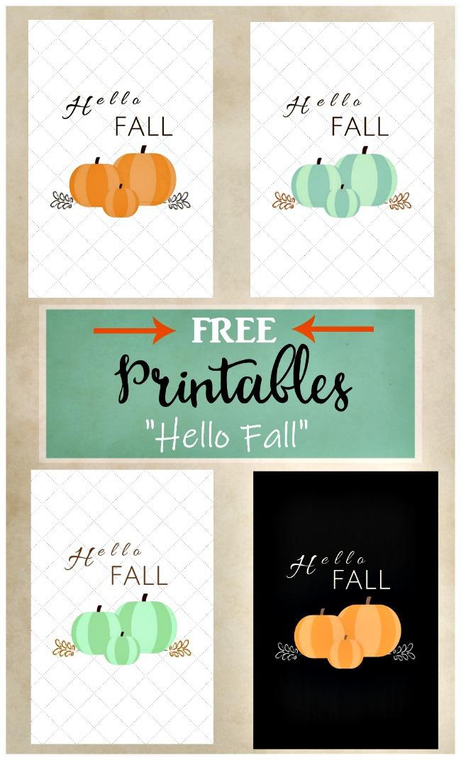 Hello Fall Pumpkin Sign Printable Collection | four color options orange,blue,white,black with orange | Stowandtellu.com