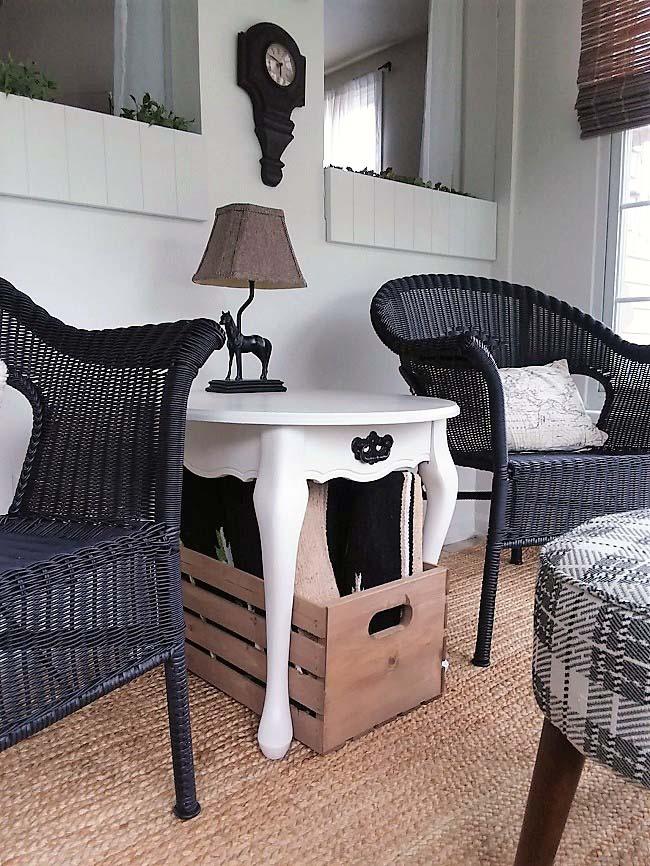 Storage for Small Sun Porch Sitting Area Makeover | stowandtellu.com