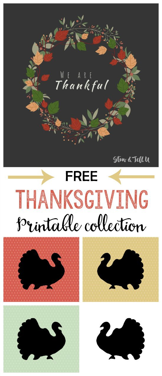 Colorful Thanksgiving Farmhouse Inspired printable collection | stowandtellu.com