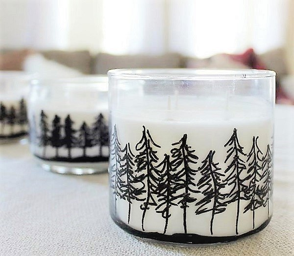 Jar Candles with Painted Pine Trees