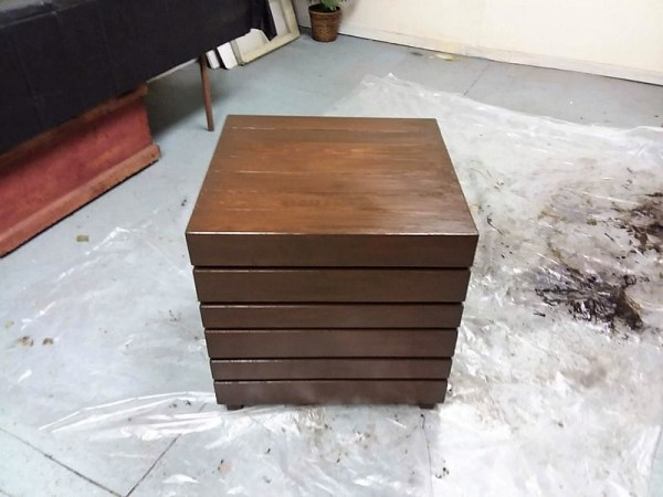 Wood Crate Table with General Finishes Antique Walnut Oil Based Gel Stain