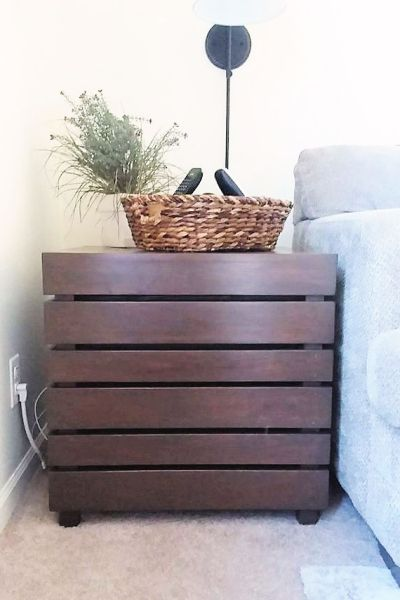 Crate Side Table with General Finishes Gel Stain Color Antique Walnut | Fix the wrong stain color on Wood Furniture