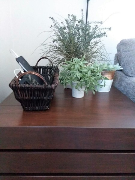 Side table with basket phone charging station