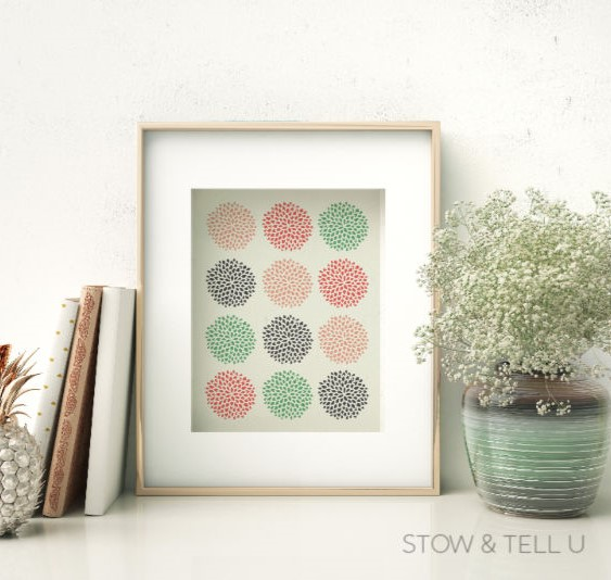 Multi-Colored Modern Artwork Framed on Shelf with Plant and Books
