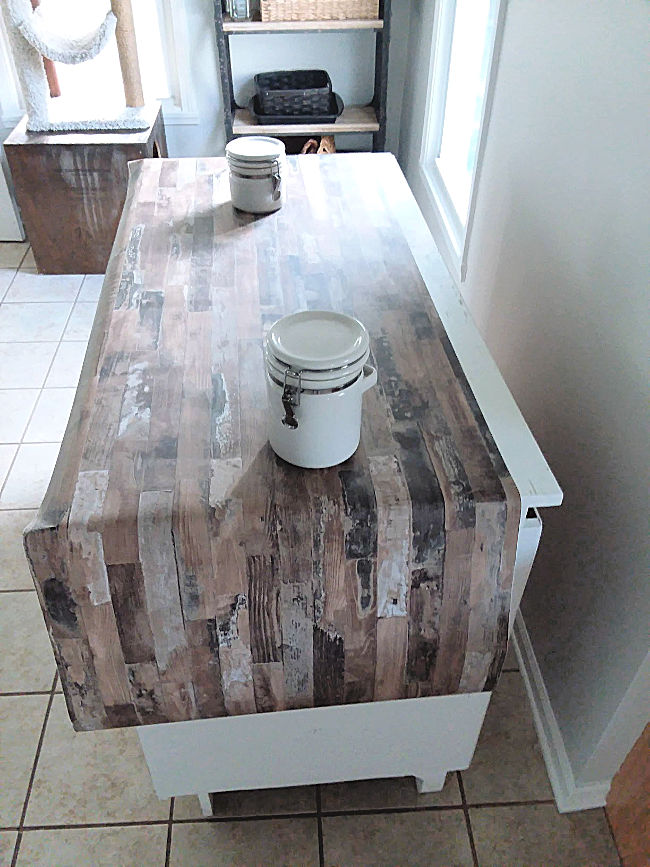 Covering Counter Top with Faux Wood Wallpaper