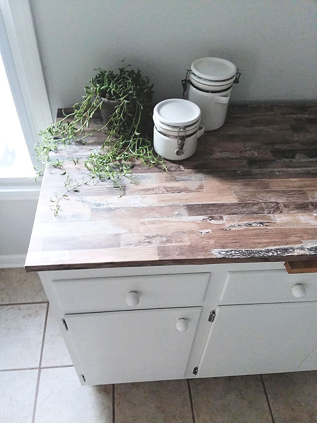 Faux Wood Countertop with Peel and Stick Wallpaper