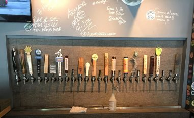 October 1, 2017 - The line-up at Tap 25 in Stowe, Vermont