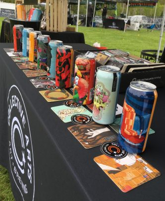 May 19, 2018 - Lineup of beers of Collective Arts and Brewing at the Craft Brew Races in Stowe, Vermont