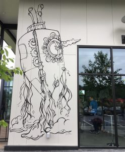 June 23, 2018 - Quirky art at the The Alchemist Brewery in Stowe, Vermont