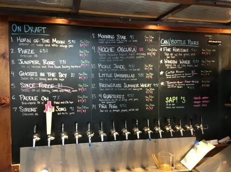 July 28, 2018 - Tap Menu at Four Quarters Brewing in Winooski, Vermont