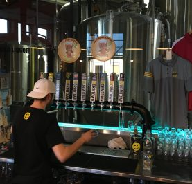 July 31, 2018 - Busy action at Wormtown Brewery in Worcester, Massachusetts