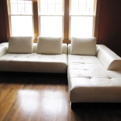 Modern White Compact Leather Sectional Sofa 2 Seater And Cuddle Chair Z Gallerie | Stowhomeforrent
