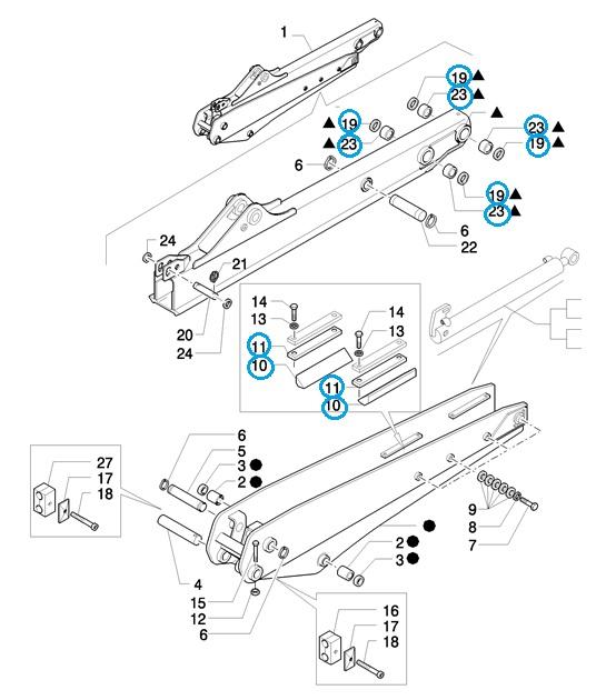 Пальцы и втулки рабочего оборудования экскаваторов New