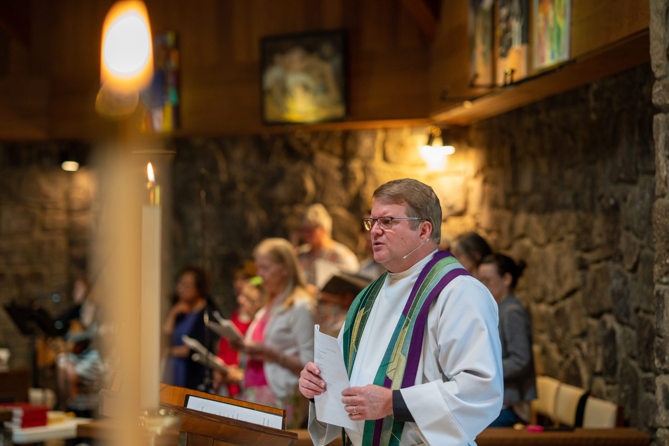 Rev. Richard Game delivering a sermon
