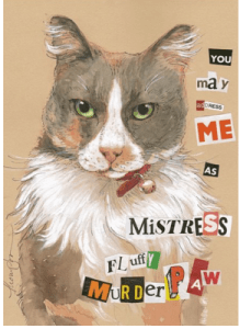 Mistress Murder Paw mixed media on Rives BFK Tan - Tracie Thompson