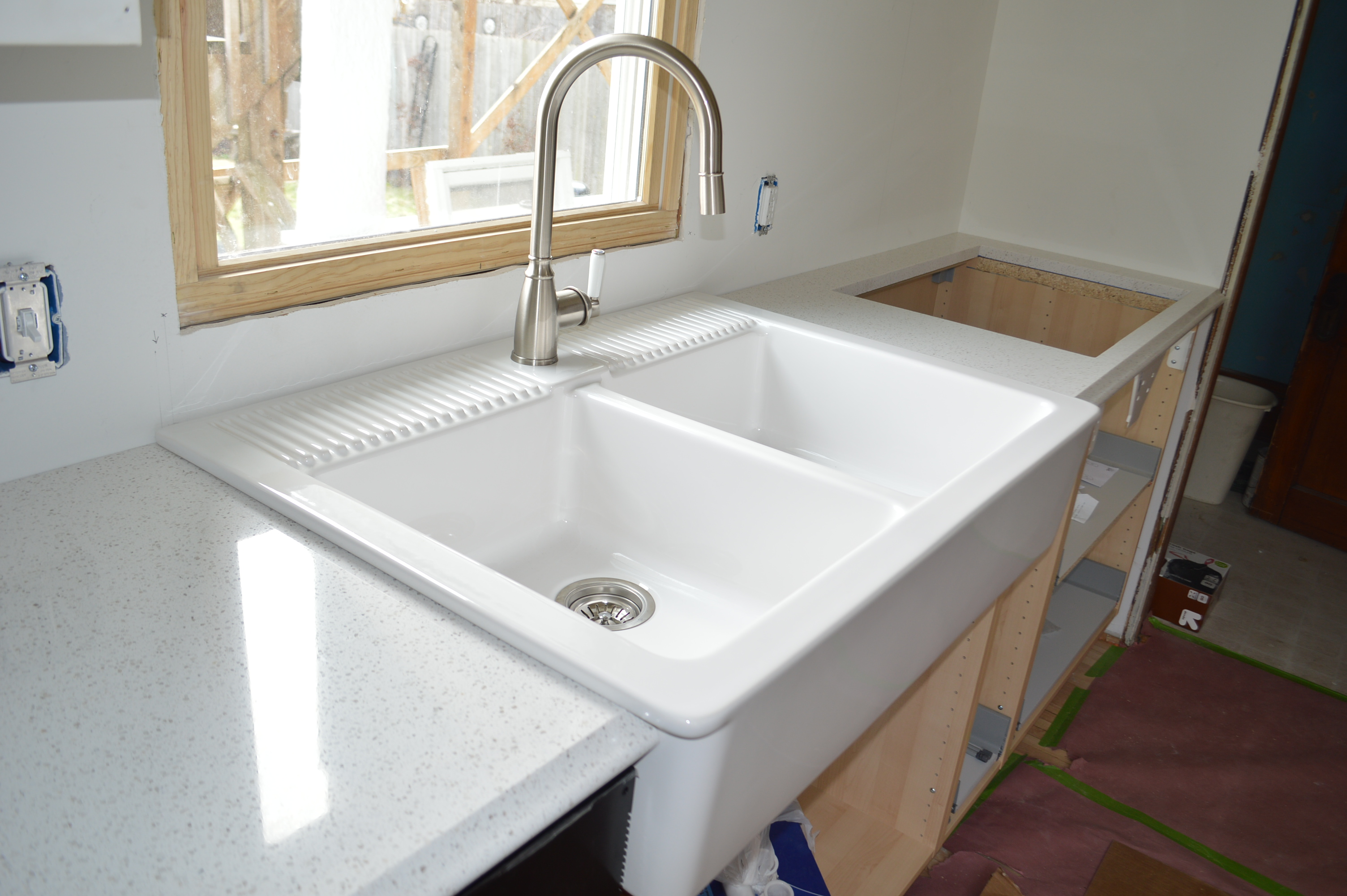 Ordering installing quartz countertops from menards Farmhouse sink ikea