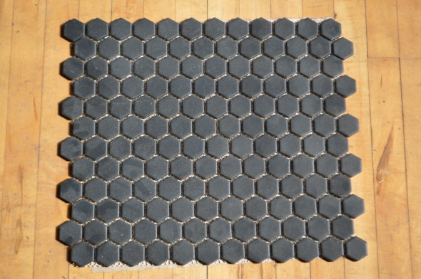 black matte mosaic hex tile
