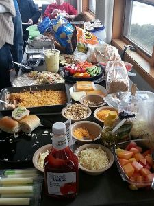 Potluck spread at Winter Fellowship!
