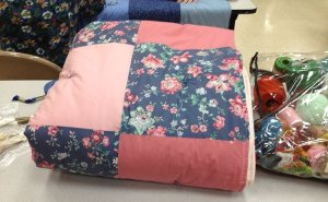 Completed pink and floral quilt