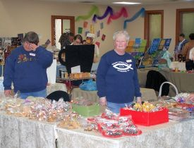 Dollie and Dawn at the Bake Sale Table