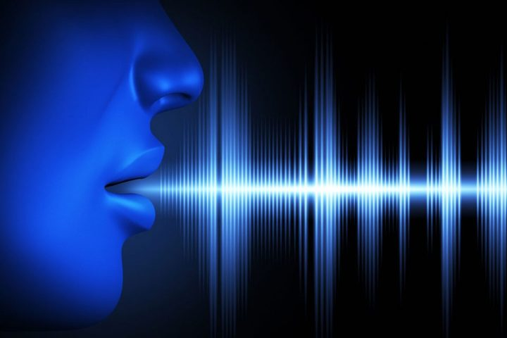 stylized pic of person speakng + sound waves