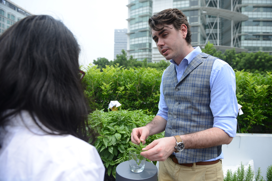 Regional Portfolio Ambassador Zachary explaining the use of herbs in cocktail making