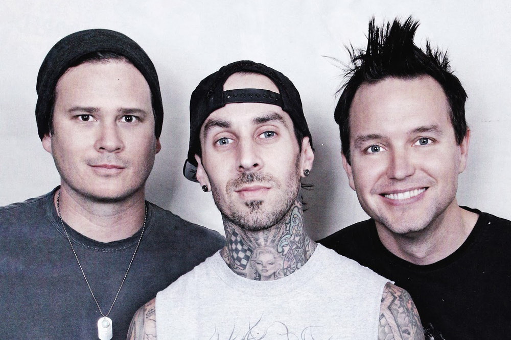 Blink-182 members (from left) Tom DeLonge, Travis Barker and Mark Hoppus