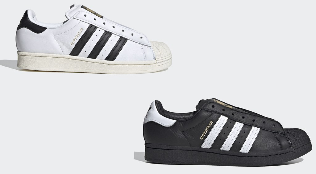 laceless Adidas Superstar two colorways
